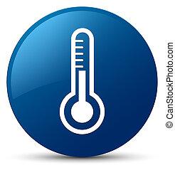 Thermometer icon blue round button