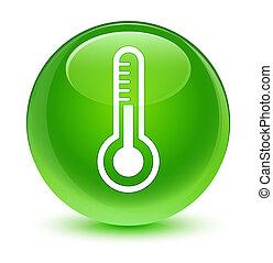 Thermometer icon glassy green round button