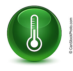 Thermometer icon glassy soft green round button