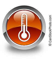 Thermometer icon glossy brown round button