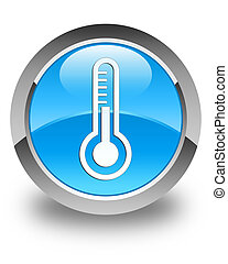 Thermometer icon glossy cyan blue round button