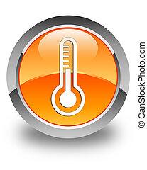 Thermometer icon glossy orange round button