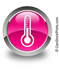 Thermometer icon glossy pink round button