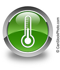 Thermometer icon glossy soft green round button