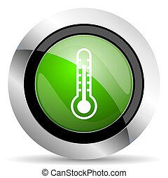 thermometer icon, green button, temperature sign