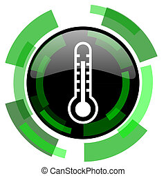thermometer icon, green modern design isolated button, web and mobile app design illustration