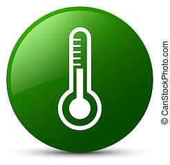 Thermometer icon green round button
