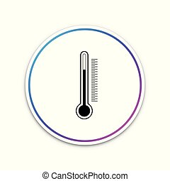 Thermometer icon isolated on white background. Circle white button. Vector Illustration
