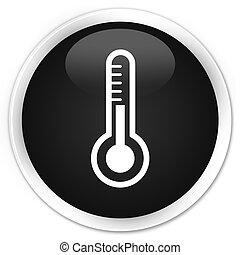 Thermometer icon premium black round button