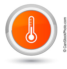 Thermometer icon prime orange round button