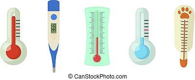 Thermometer icon set, cartoon style