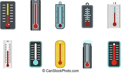 Thermometer icon set, flat style
