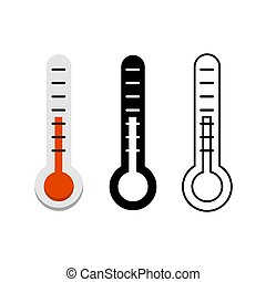 Thermometer icon set on white background. Stock Vector illustration.