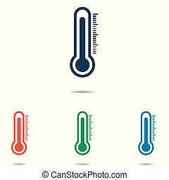 Thermometer icon set - simple flat design isolated on white background, vector