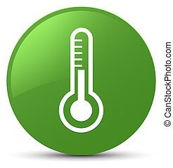 Thermometer icon soft green round button