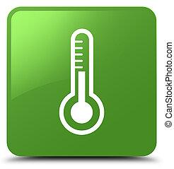 Thermometer icon soft green square button