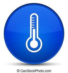 Thermometer icon special blue round button