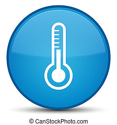Thermometer icon special cyan blue round button