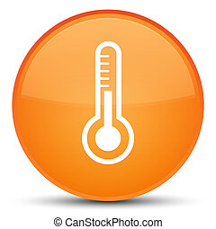 Thermometer icon special orange round button