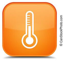 Thermometer icon special orange square button
