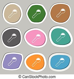 Thermometer icon symbols. Multicolored paper stickers....