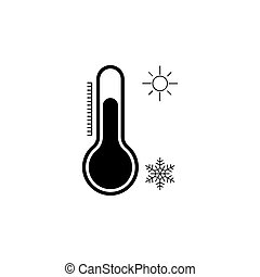 Thermometer icon, vector illustration black on white background