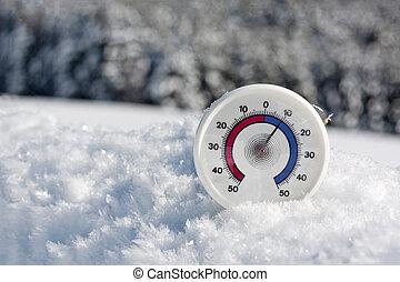 thermometer, in, der, schnee
