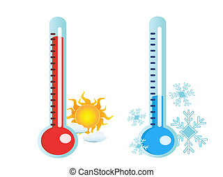 thermometer in hot and cold temperature - isolated two...
