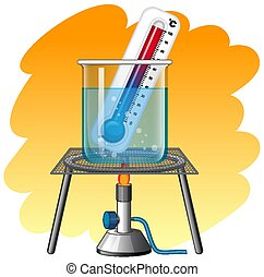 Thermometer in hot water illustration