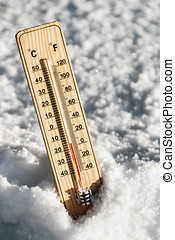 Thermometer in the snow with freezing temperatures