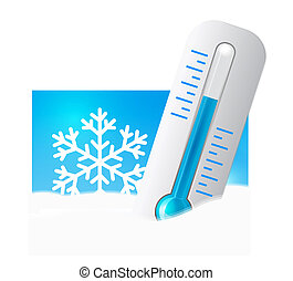 Thermometer in the snow with snowflakes in the background