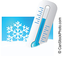Thermometer in the snow with snowflakes in the background. ...