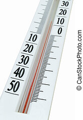 Thermometer is insulated on white background