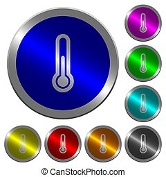 Thermometer luminous coin-like round color buttons