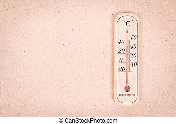 Thermometer measurement 30 degree on wooden background