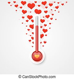 Thermometer of love scale with flying.