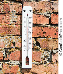 thermometer on a brick wall
