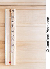 Thermometer on a wooden wall