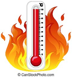 Thermometer on fire on white background