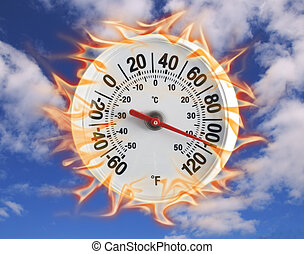 Thermometer on fire one - round thermometer on fire against...