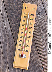 Thermometer on old wooden background
