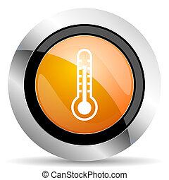 thermometer orange icon temperature sign