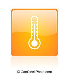 thermometer orange square glossy web icon