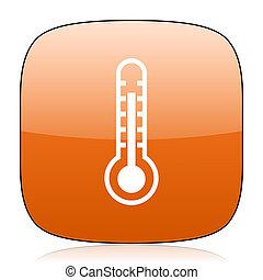 thermometer orange square web design glossy icon