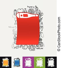 thermometer paper sticker with hand drawn elements