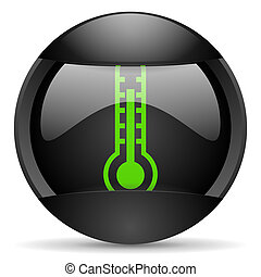 thermometer round black web icon on white background