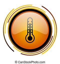 thermometer round design orange glossy web icon
