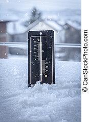 thermometer, satz, in, der, schnee