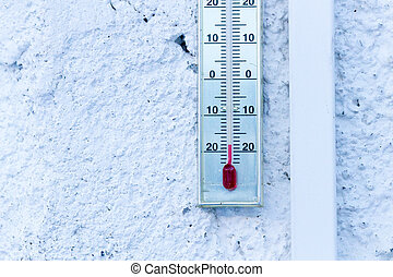 Thermometer hanging at white house showing minus 20 degrees celcius.