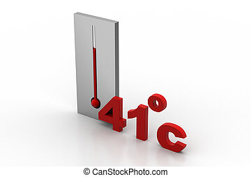 Thermometer shows 41degree celsius